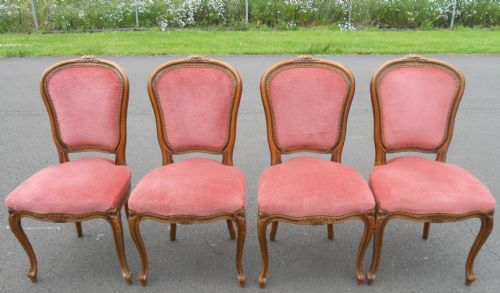 Set of Four French Walnut Dining Chairs